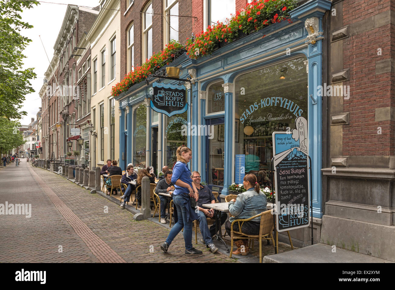 Popular cafeteria on Oude Delft in the historic city center of Delft, South Holland, The Netherlands, Europe. - Stock Image