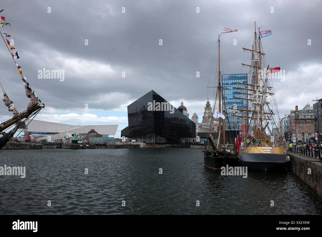 Liverpool Albert Dock Sailing Ships Grey Sky Skies - Stock Image