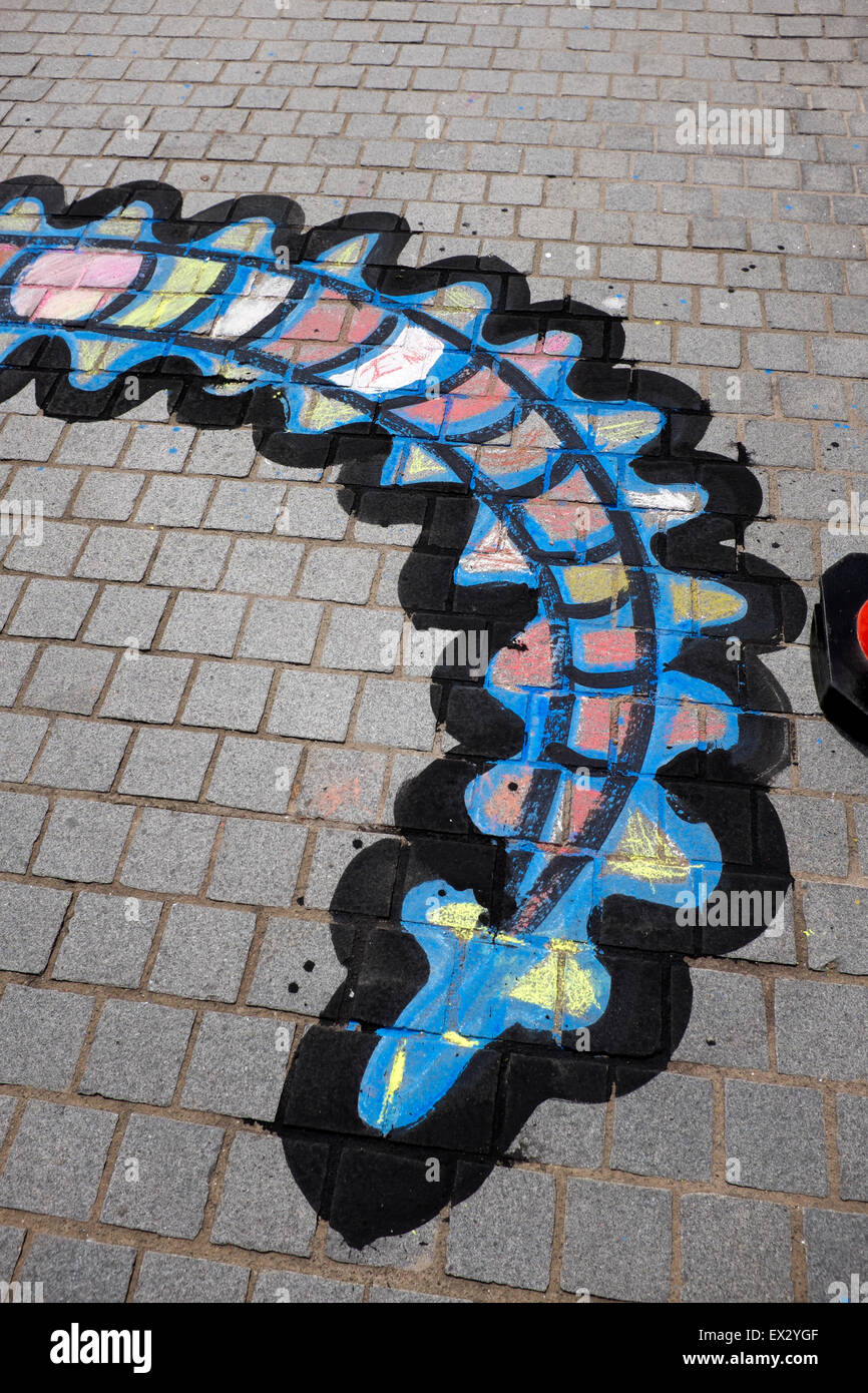 Street Art Paint Sidewalk Pavement Bold Tail - Stock Image