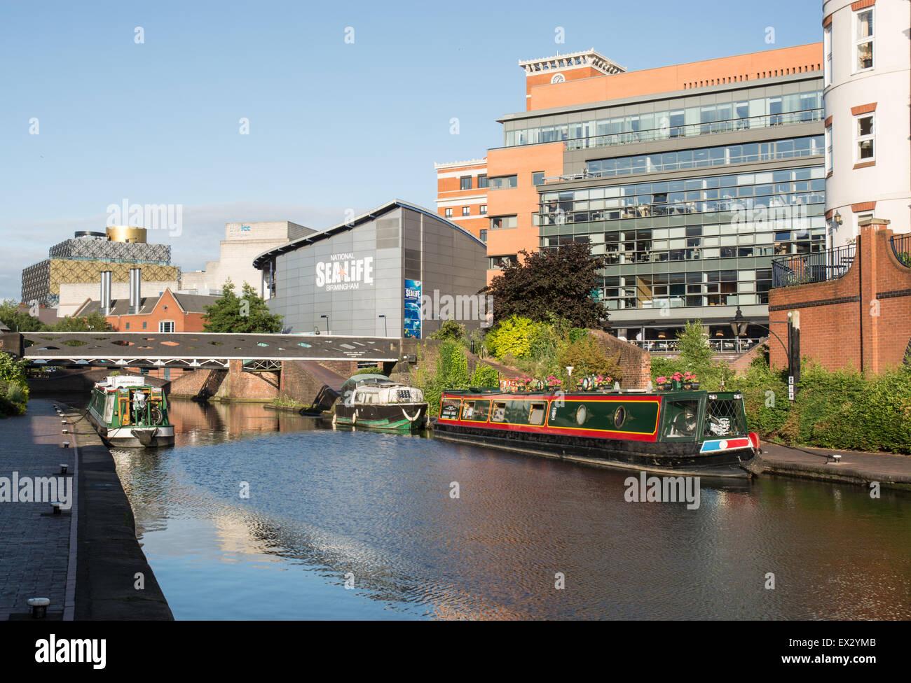 Birmingham Canal, with National Sea-Life Birmingham, in Birmingham city centre - Stock Image