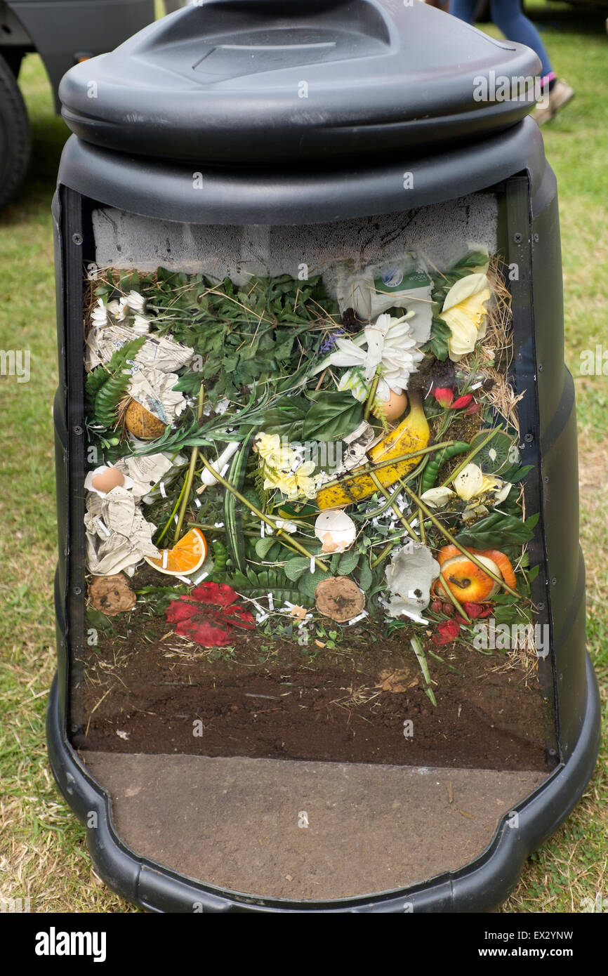 Cut away inside of Compost Bin Composting Recycle - Stock Image