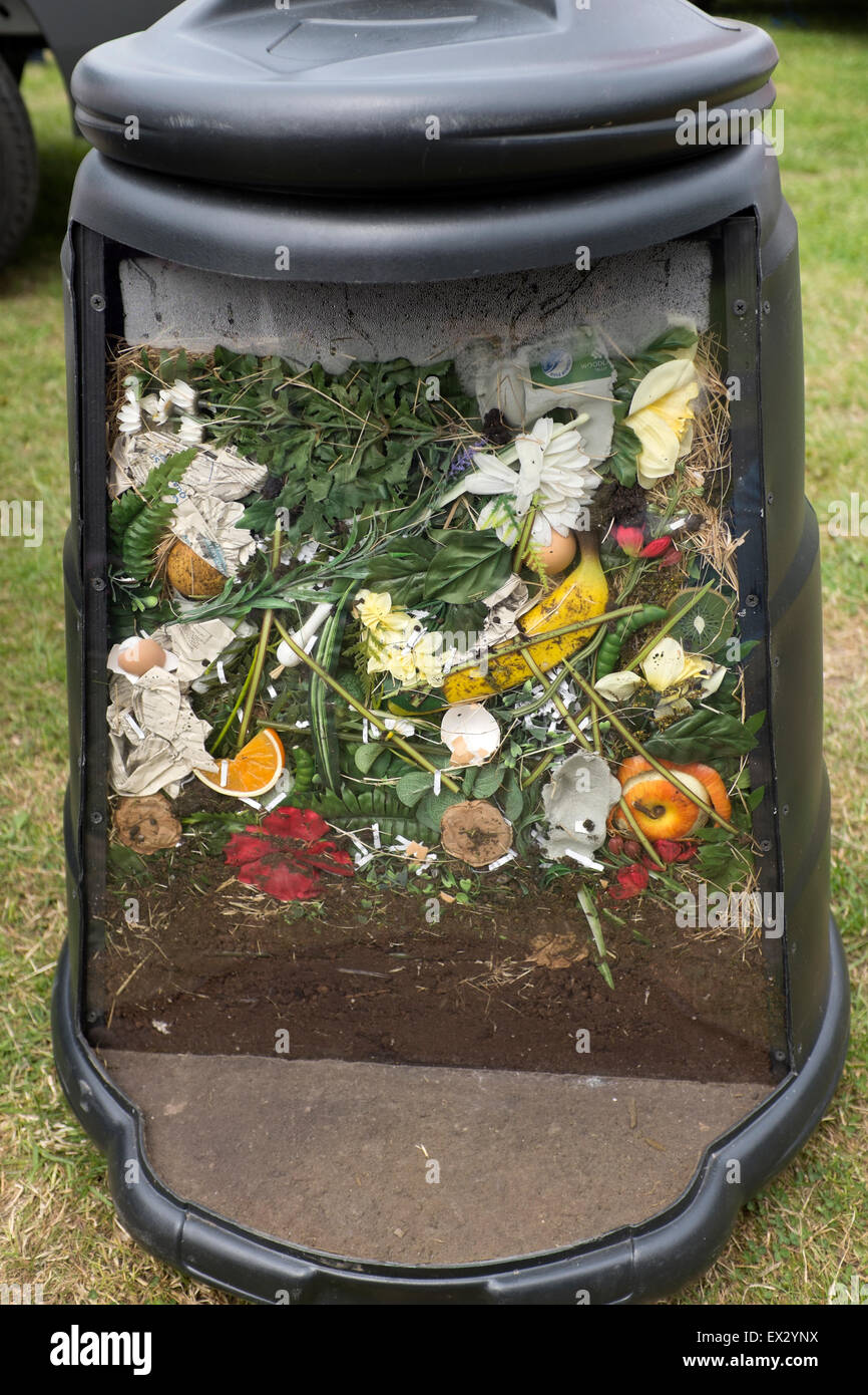 cut away inside of compost bin composting recycle stock photo