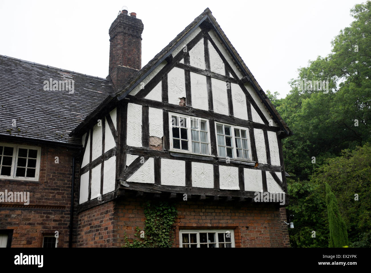 Old english country cottage house black white stock image