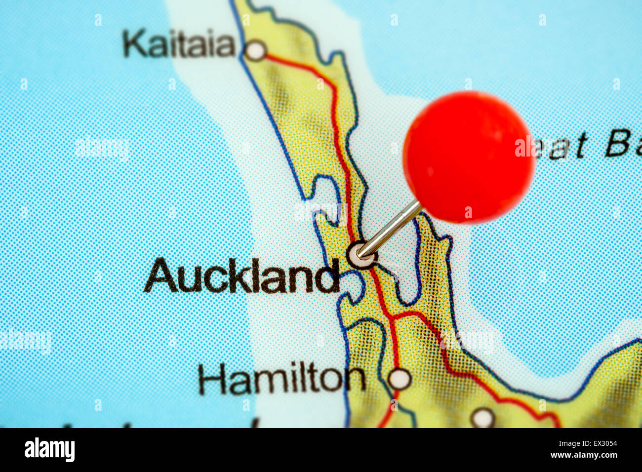 New Zealand Auckland Map.Close Up Of A Red Pushpin On A Map Of Auckland New Zealand Stock