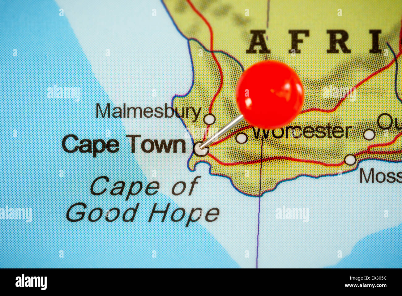 Close-up of a red pushpin on a map of Cape Town, South Africa Stock ...