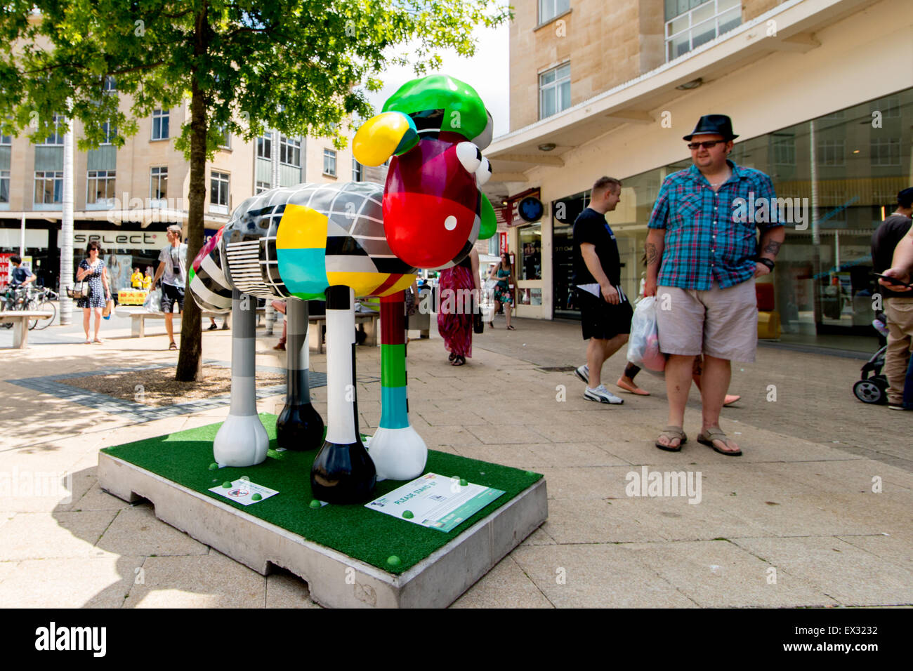 PLEASE STAND BY by Timmy Willmott in the center of the Broadmead shoping area in Bristol. Part of the Shaun the - Stock Image