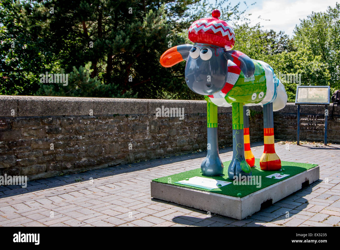 KNITWIT by Adrian Barclay in Bristol's Castle Park. Part of the Shaun the Sheep Art Trail across Bristol Summer - Stock Image