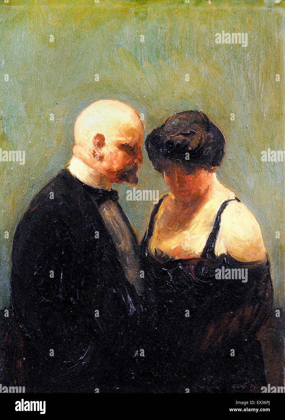 Guy Pene du Bois, The Confidence Man 1919 Oil on plywood panel. Brooklyn Museum, New York, USA. - Stock Image