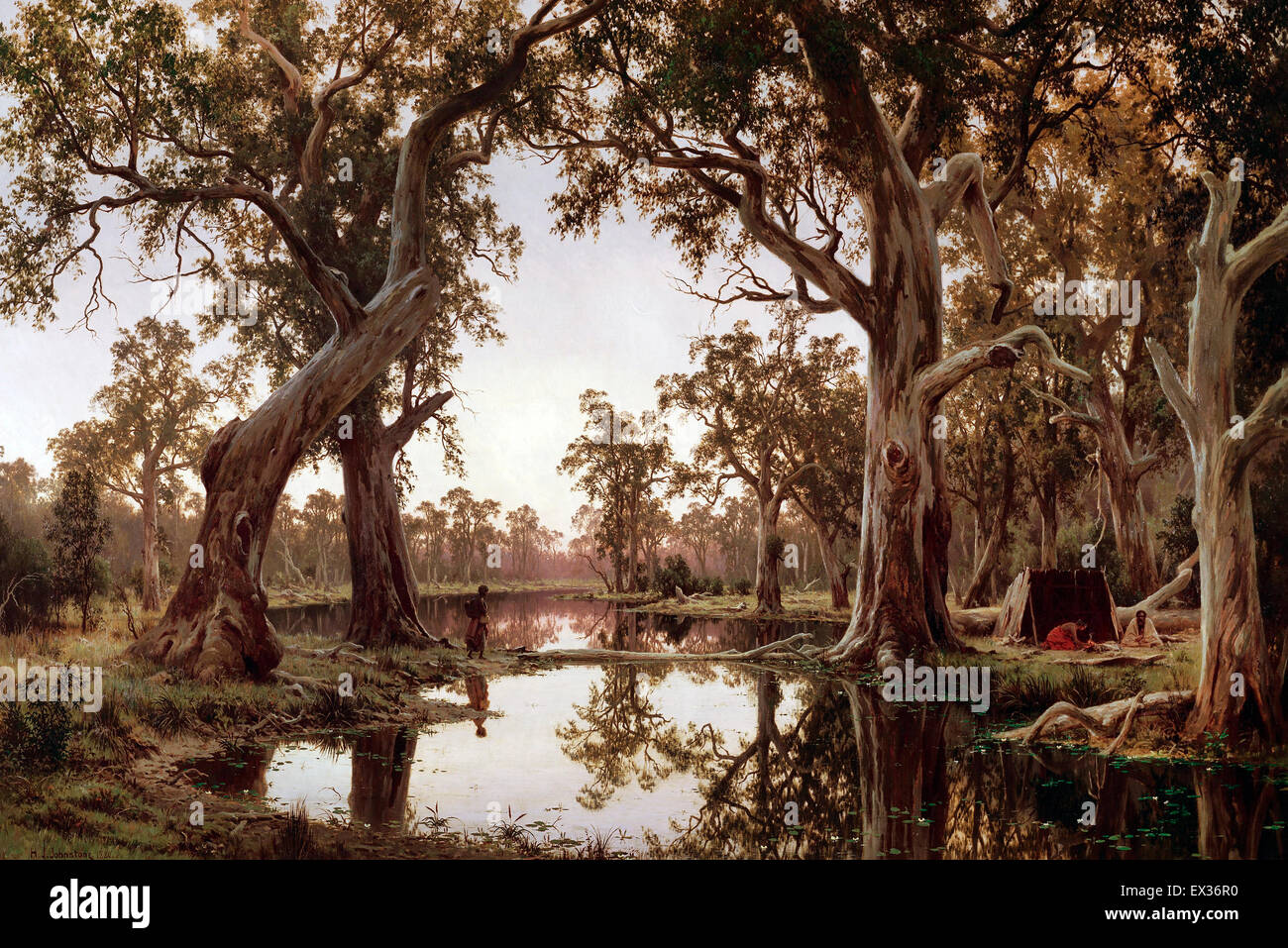 H J. Johnstone, Evening Shadows, Backwater of the Murray, South Australia. 1880 Oil on canvas. Art Gallery of South - Stock Image