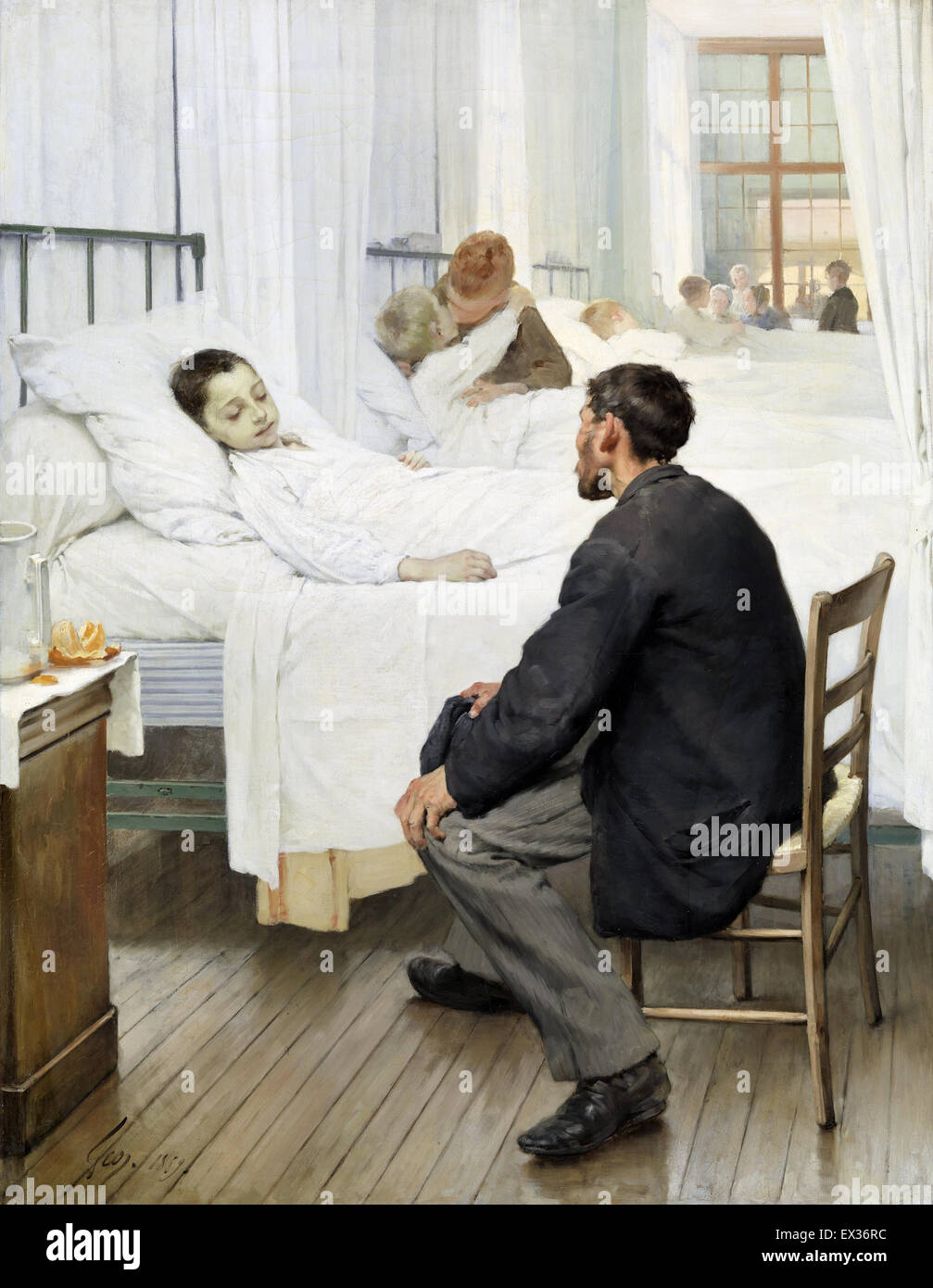 Jean Geoffroy, Visit Day at the Hospital 1889 Oil on canvas. Musee d'Orsay, Paris, France. - Stock Image