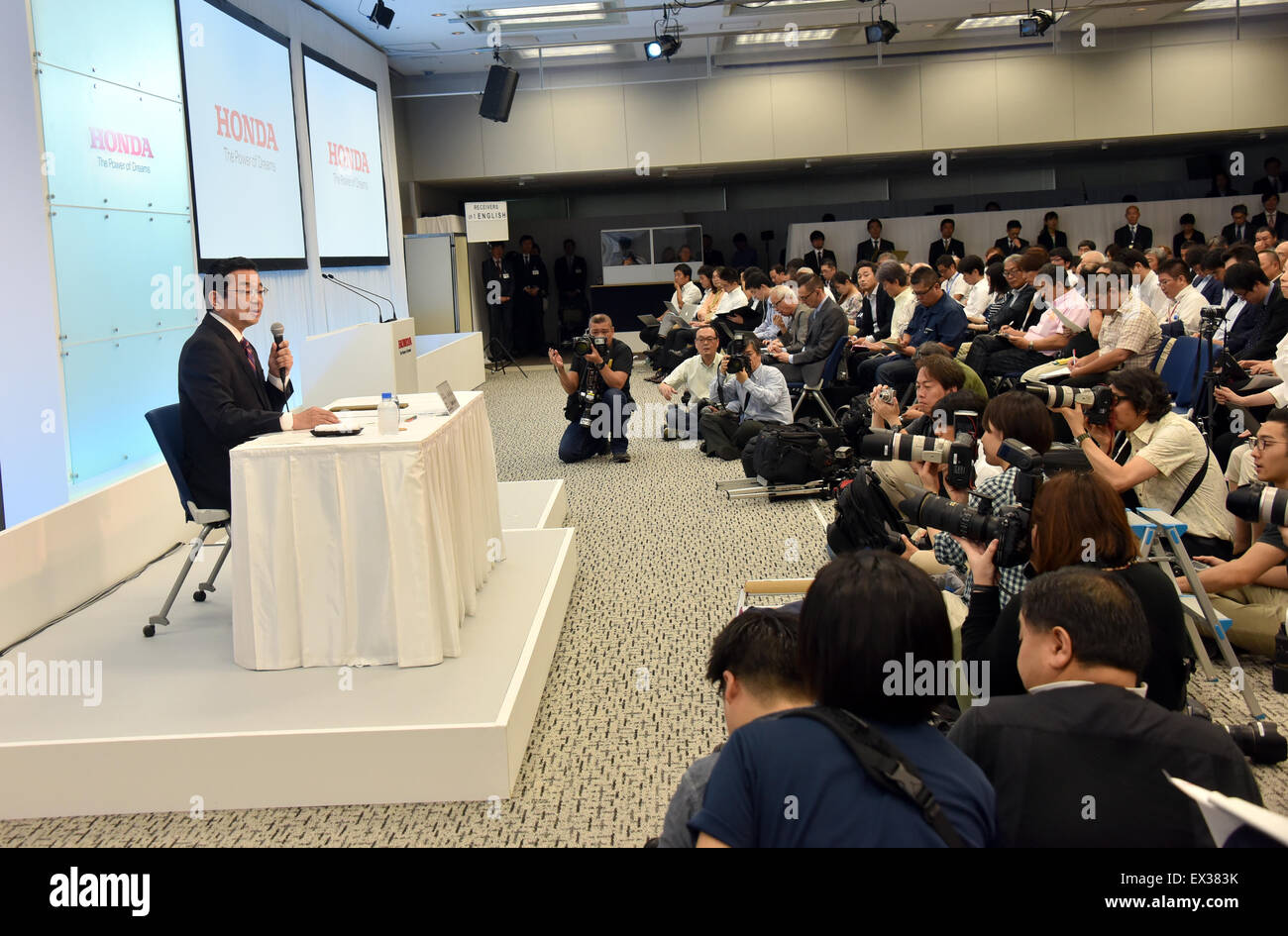 Tokyo, Japan. 6th July, 2015. Takahiro Hachigo, new president and chief executive officer of Honda Motor Co., holds Stock Photo