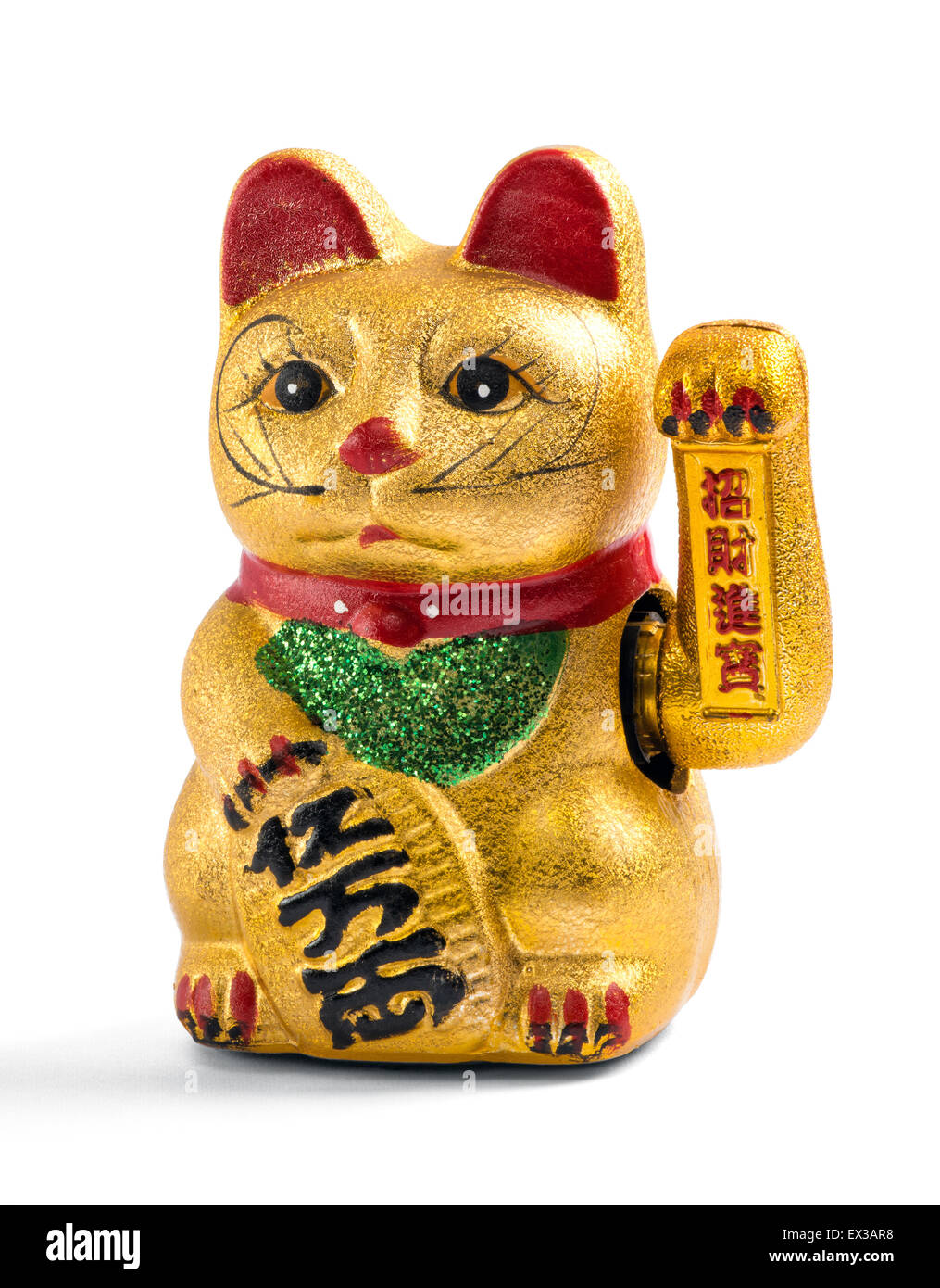 Gilded Chinese, Asian or Feng Shui lucky charm cat - Stock Image