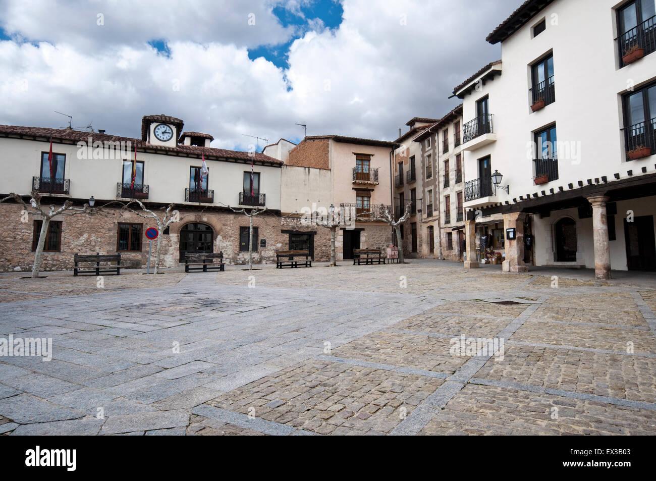 Main square of Covarrubias, Burgos Province, Spain - Stock Image