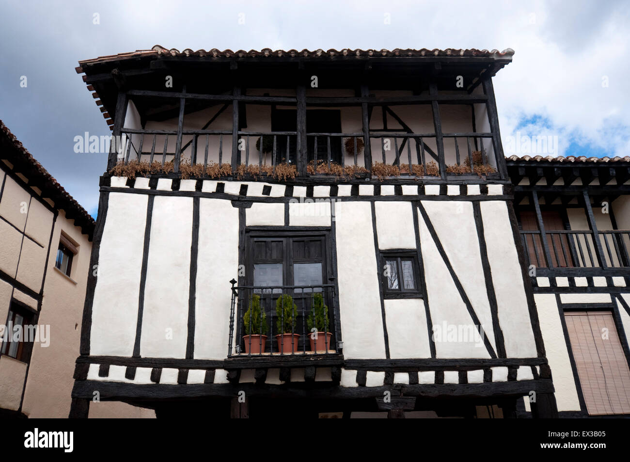 Traditional houses in Covarrubias, Burgos Province, Spain - Stock Image