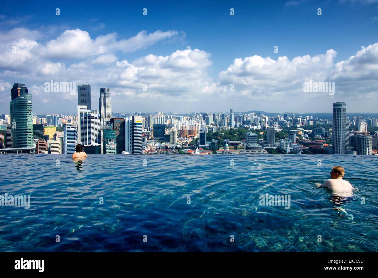 Swimming at marina bay sands infinity pool and enjoying - Marina bay sands infinity pool ...