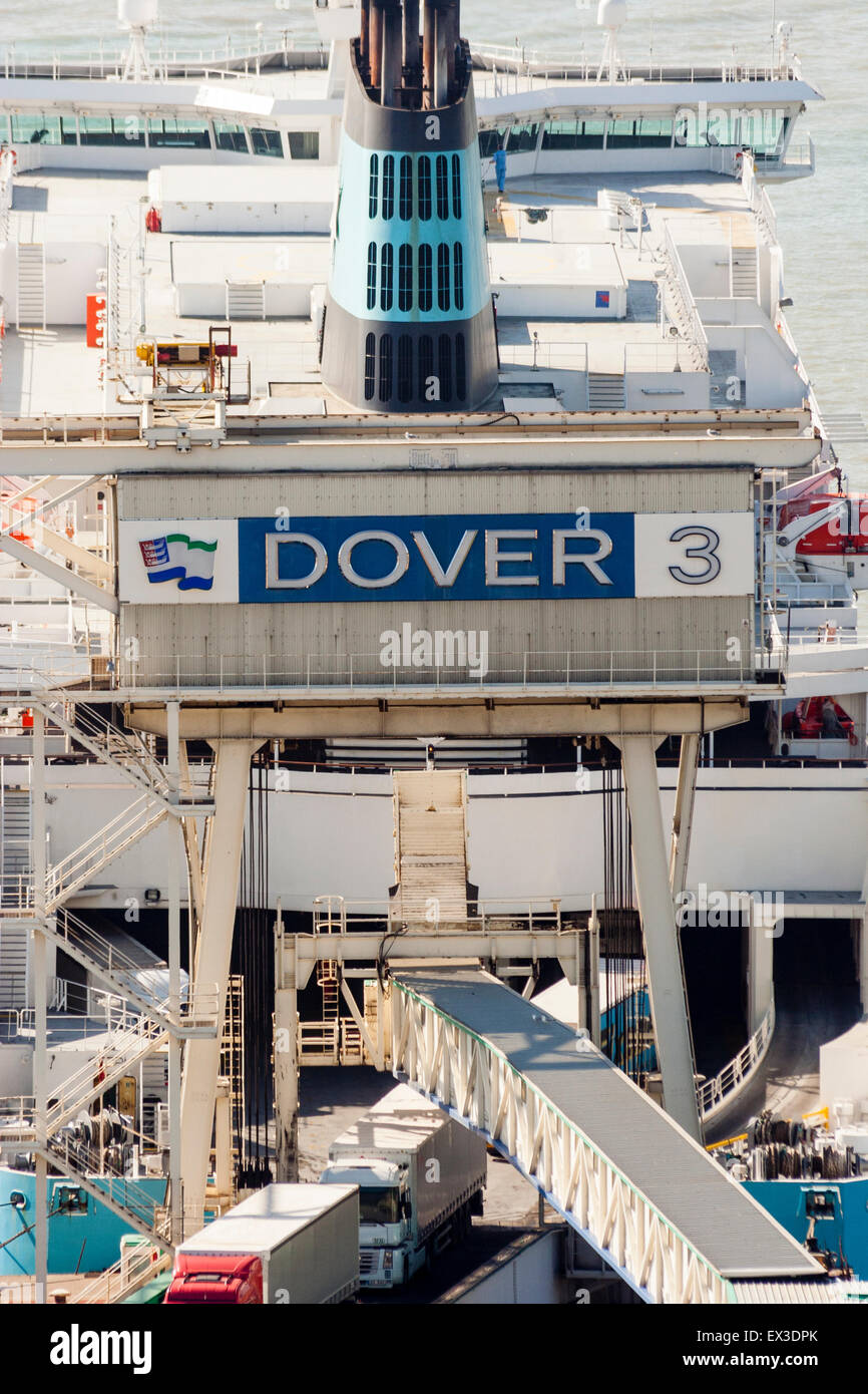 Dover docks, England. High angel shot of ferry terminal, with ferry and truck driving on, terminal, Dover 3 - Stock Image