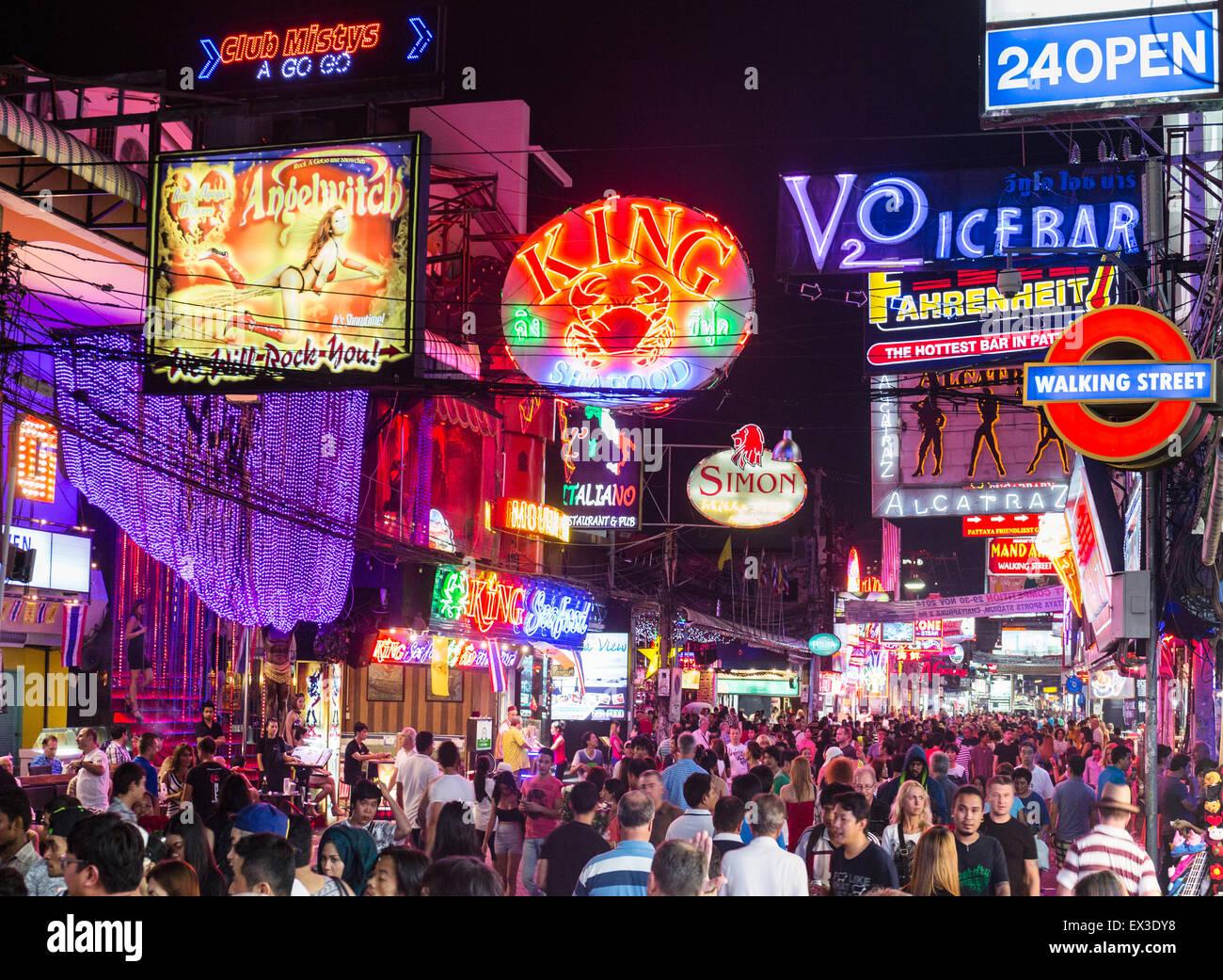 Walking Street pedestrian zone, nightlife, bars, nightclubs, neon signs, Pattaya, Chon Buri Province, Thailand - Stock Image