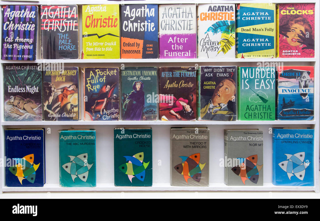 Detective stories by Agatha Christie in Torquay Museum, Torquay, Devon, southern England, England, United Kingdom - Stock Image