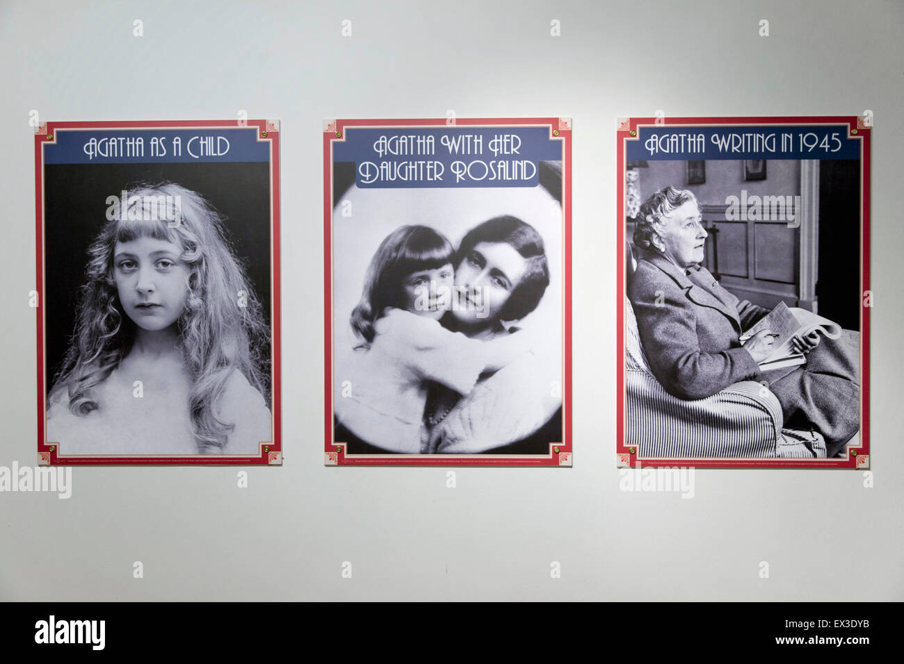 Photos of Agatha Christie in Torquay Museum, Torquay, Devon, southern England, England, United Kingdom - Stock Image