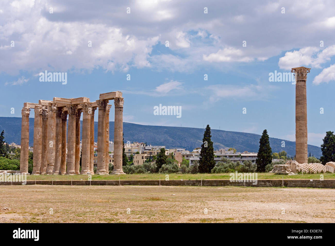 Temple of Olympian Zeus, Olympieion, Athens, Greece - Stock Image