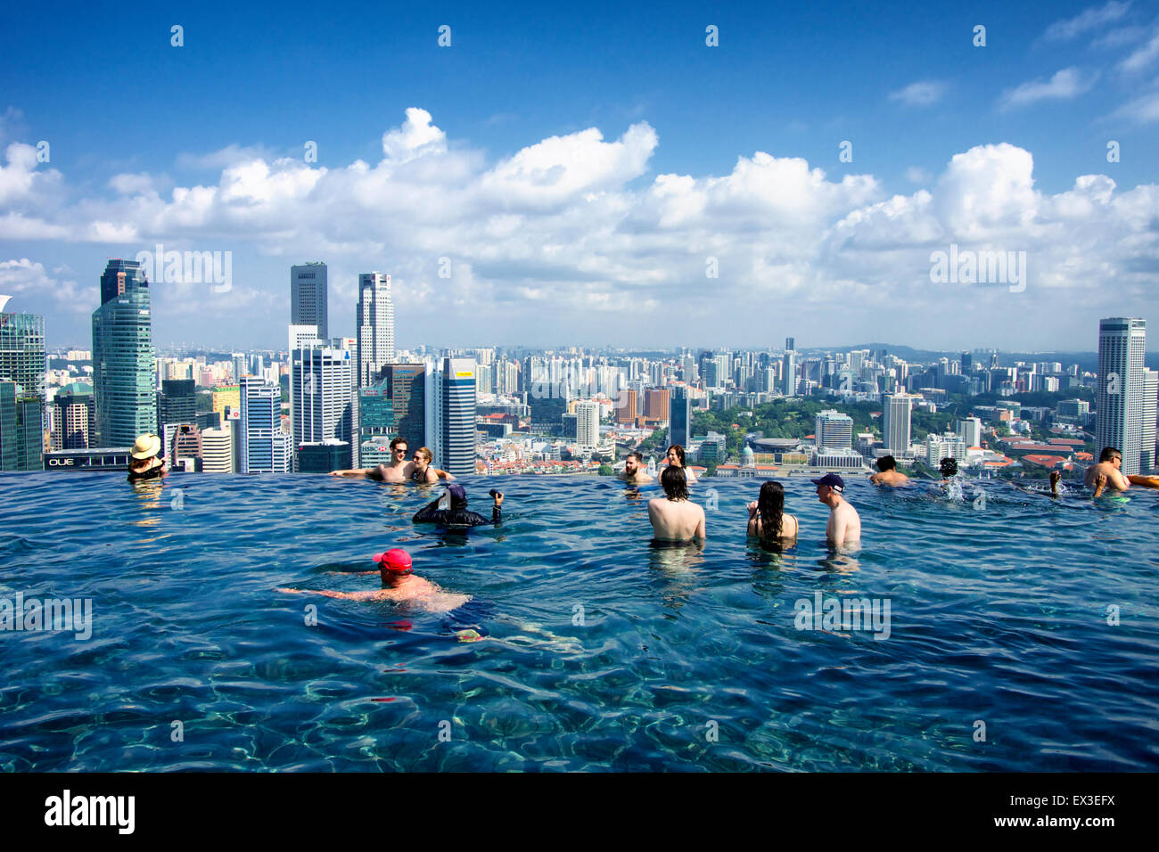 Chilling at the MBS Infinity pool and enjoying the city skyline