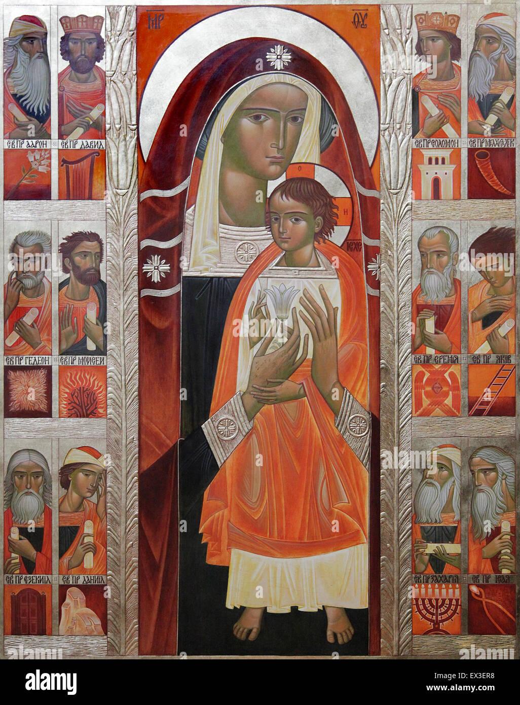Icon at the Notre-Dame de Paris.Notre-Dame Cathedral.Notre-Dame.Paris France - Stock Image