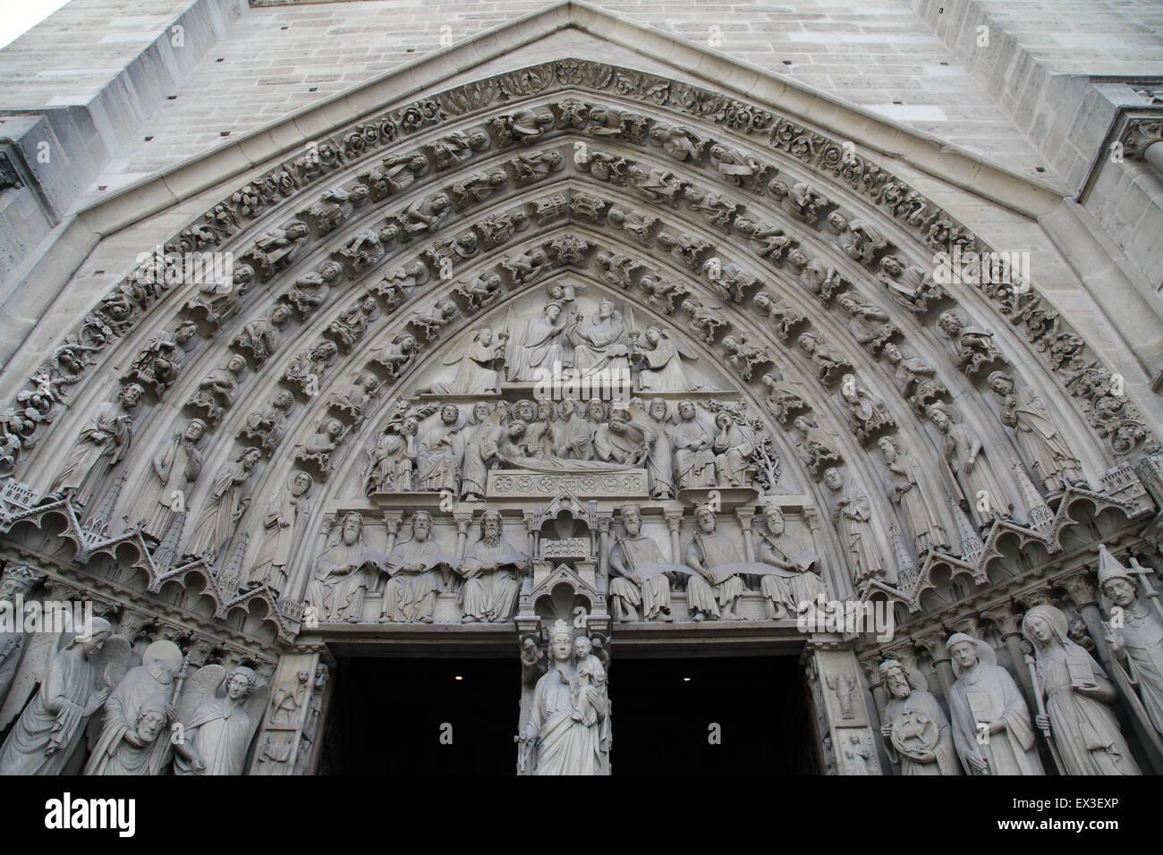 Notre-Dame de Paris.Exterior Sculptures Notre-Dame Cathedral.Notre-Dame Paris France - Stock Image