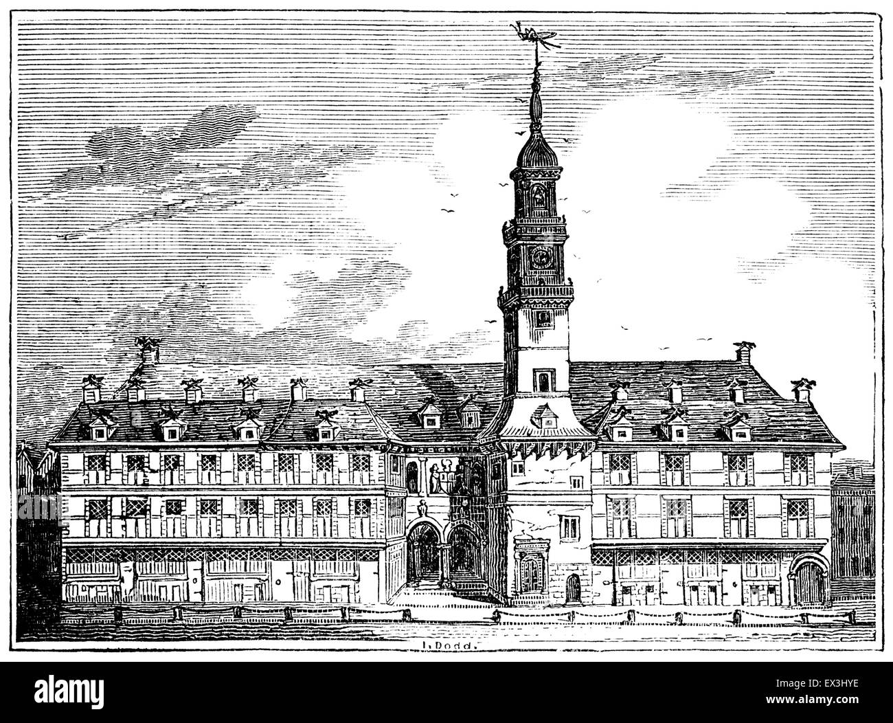 Vintage engraving: the original London Royal Exchange of Gresham, built in 1571 and destroyed by fire in 1666. - Stock Image