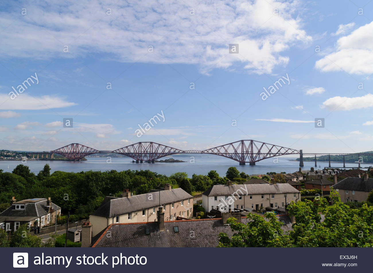 South Queensferry, UK. July 6, 2015. View from the Forth Road Bridge. The Forth Bridge has been confirmed by Unesco - Stock Image