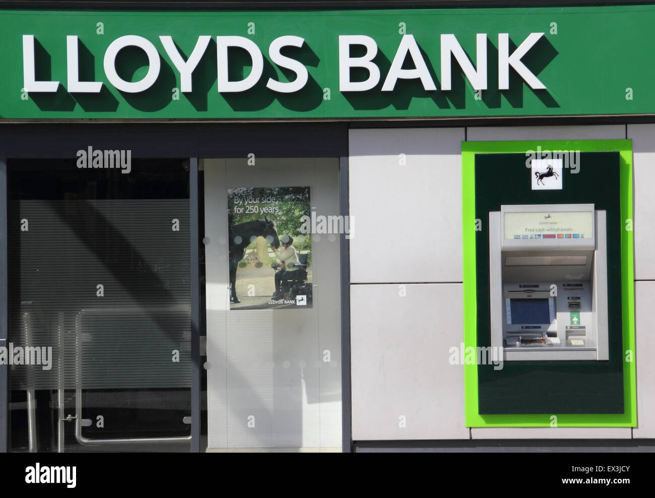 An ATM cashpoint machine at a Lloyds Bank branch in Derbyshire England UK - Stock Image