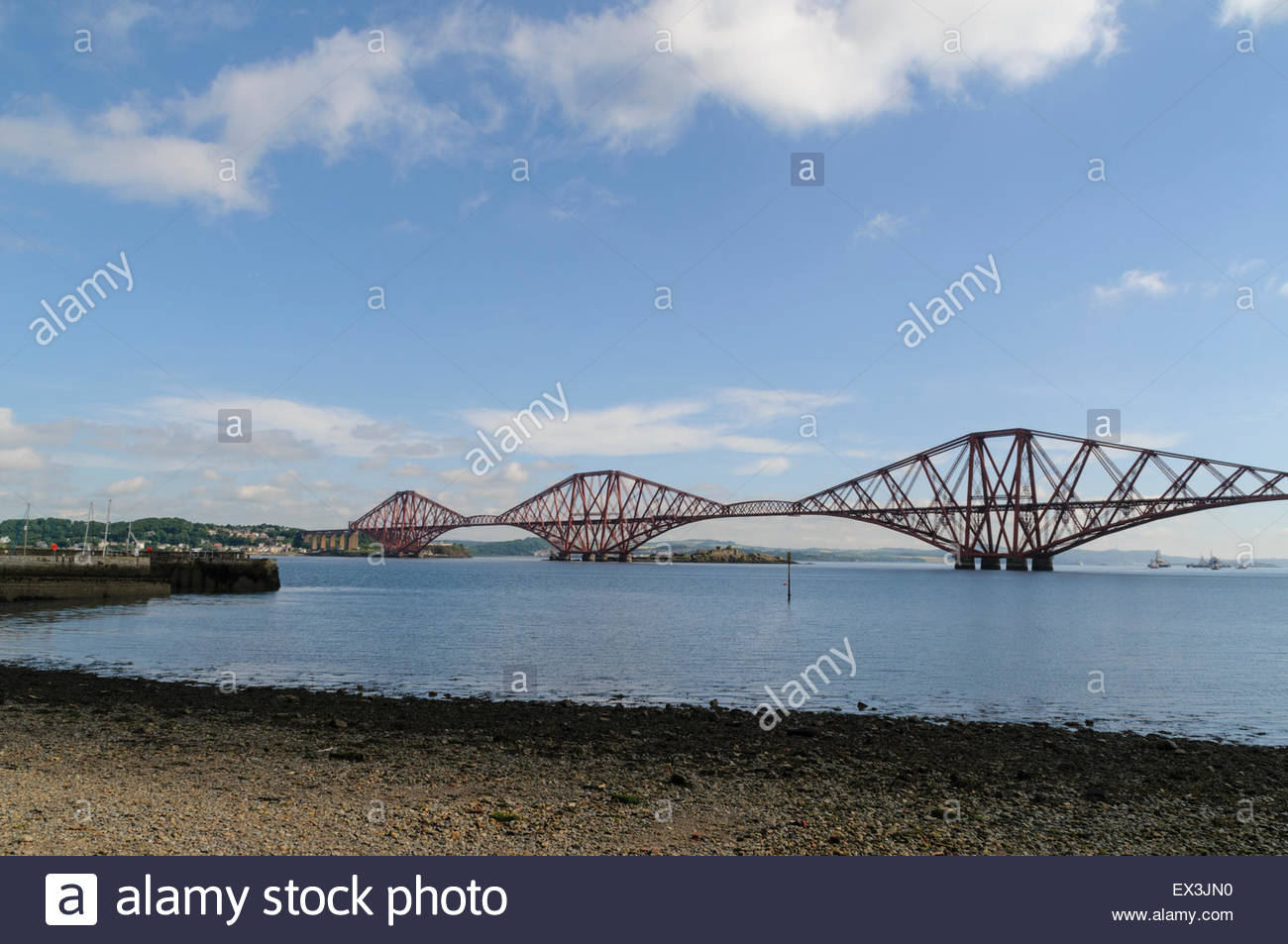 South Queensferry, UK. July 6, 2015. View from South Queensferry beach. The Forth Bridge has been confirmed by Unesco - Stock Image
