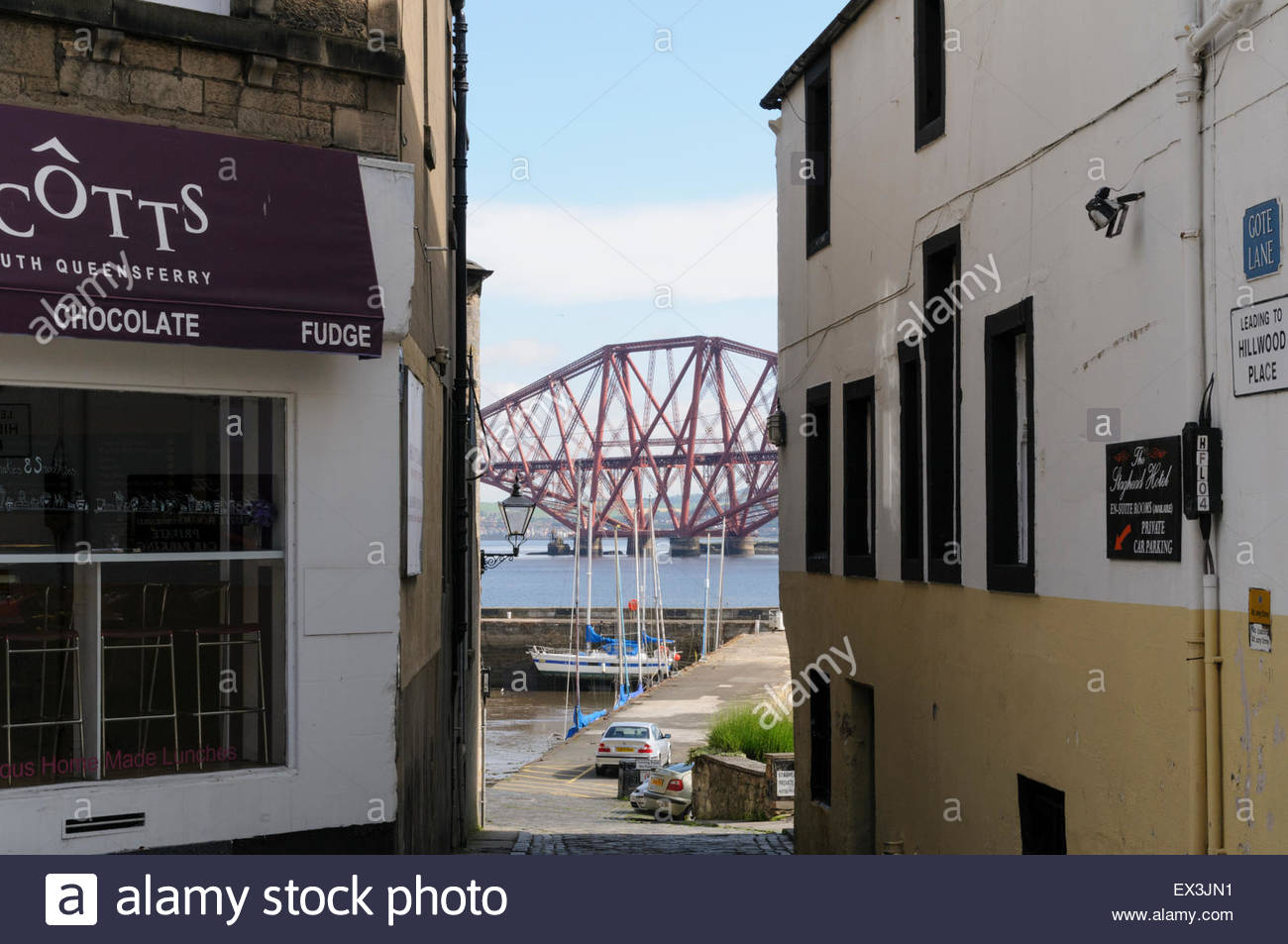 South Queensferry, UK. July 6, 2015. From High Street. The Forth Bridge has been confirmed by Unesco as Scotland's - Stock Image