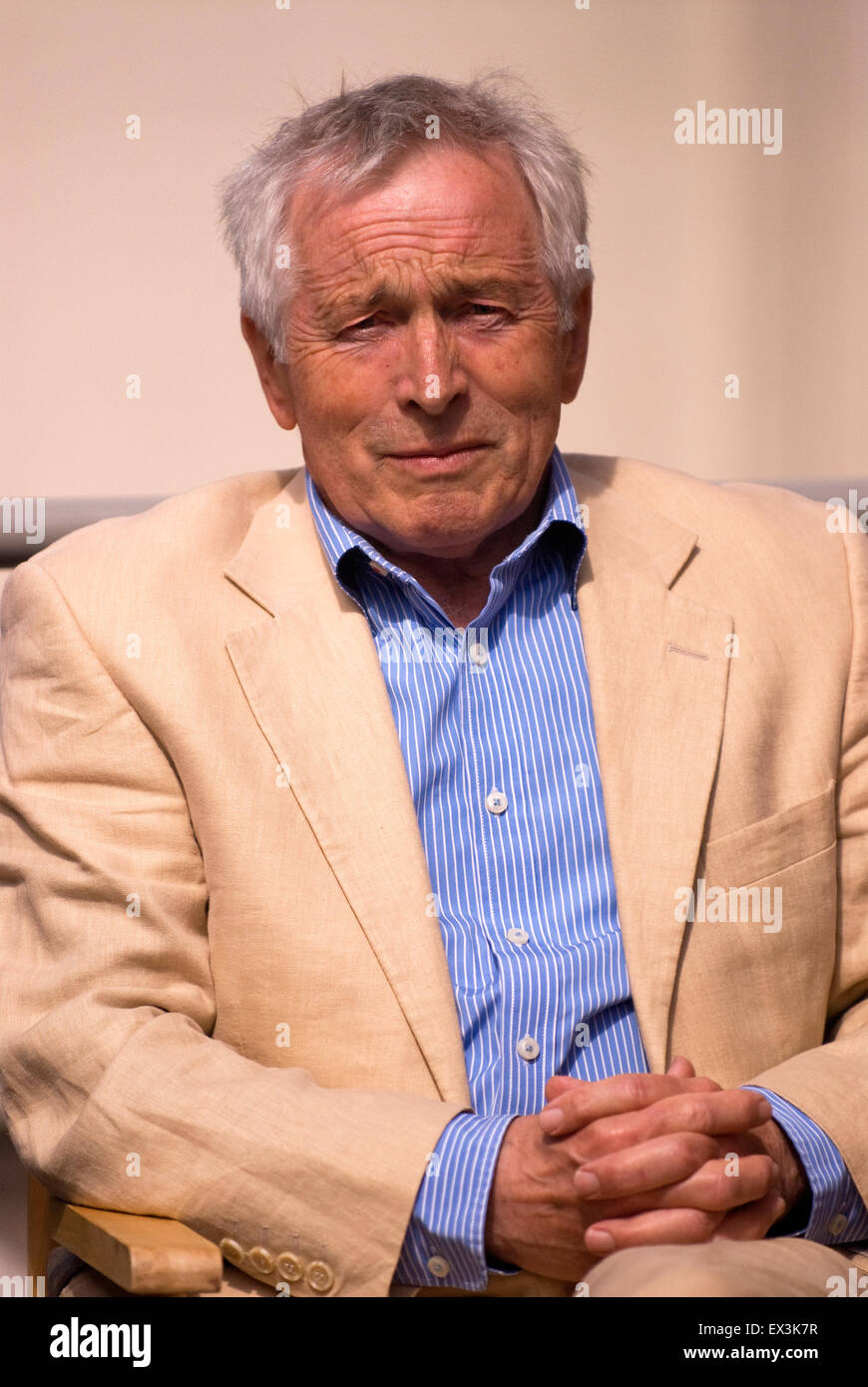 BBC Broadcaster Jonathan Dimbleby (b. 31 July 1944) attending opening of new classroom at his former school - Stock Image