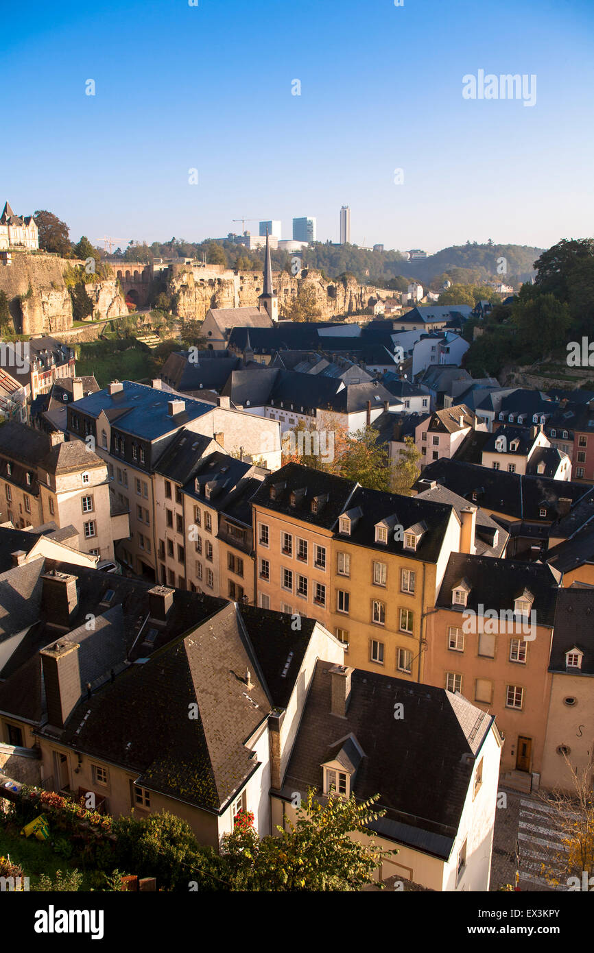 LUX, Luxembourg, city of Luxembourg, view across the district Grund to the district Kirchberg in the background. - Stock Image