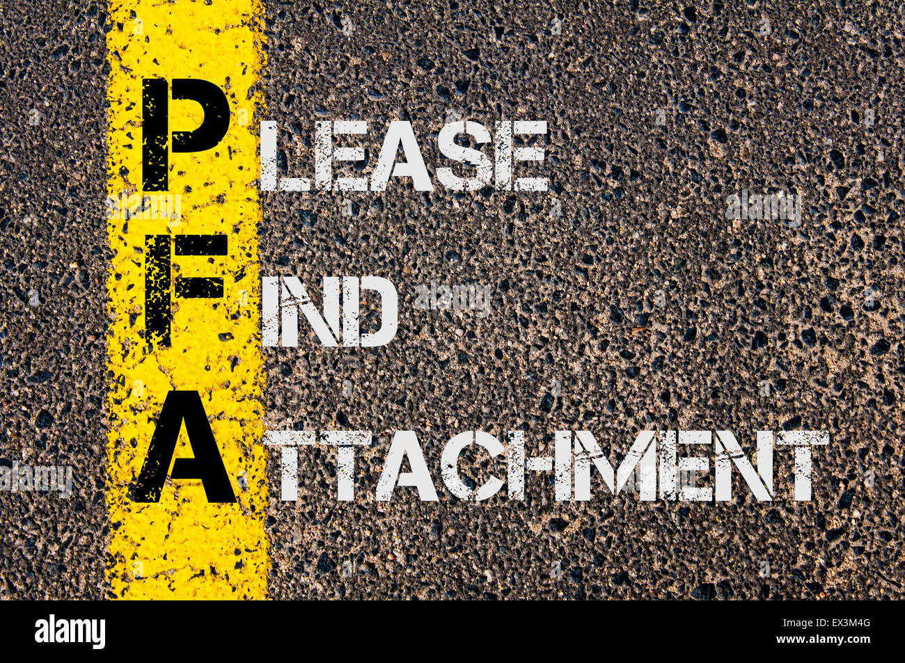 Concept image of Business Acronym PFA as Please Find Attachment written over road marking yellow painted line. - Stock Image