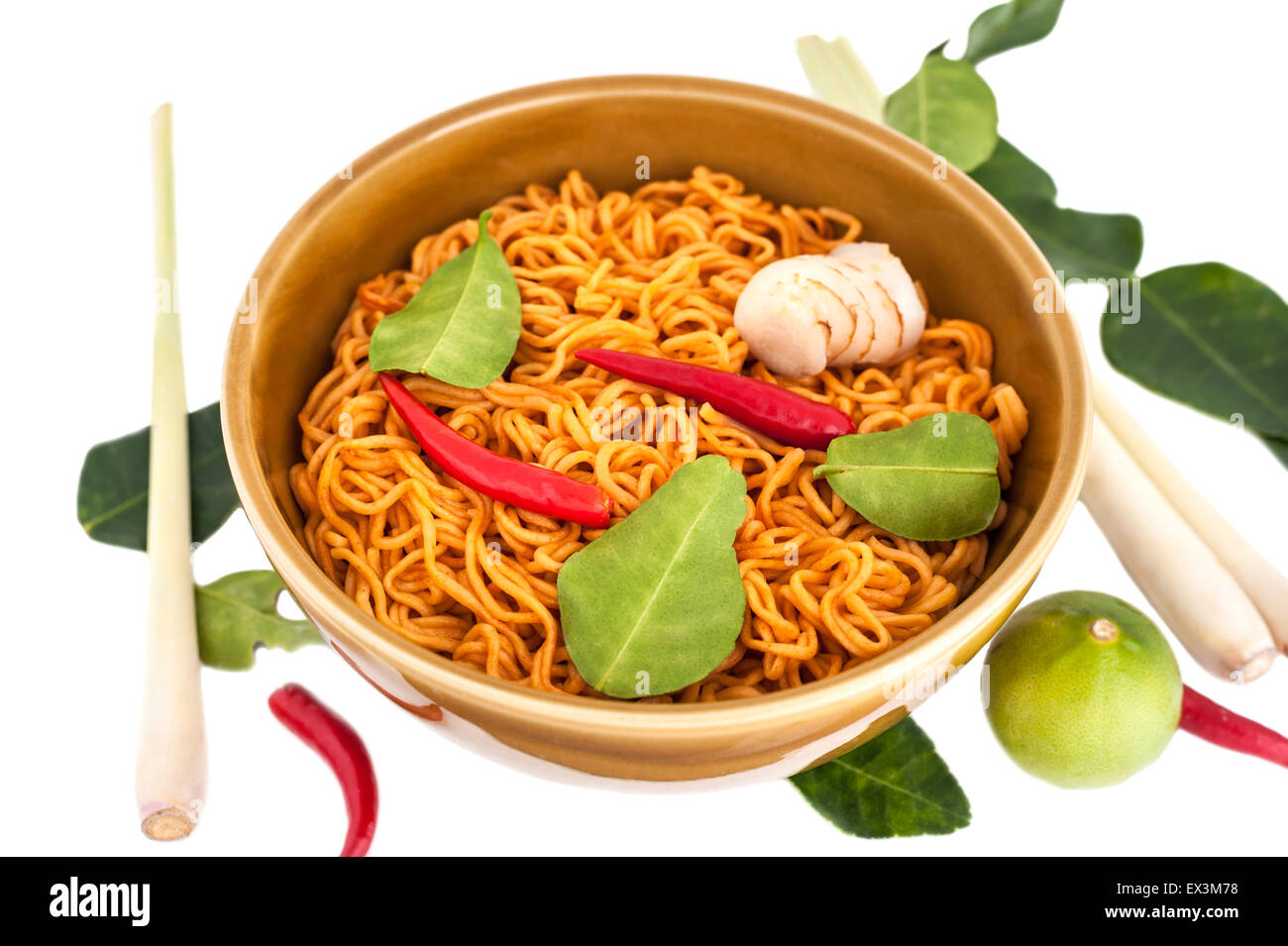 Hot spicy noodle with herb for healhty, isolated on white background - Stock Image