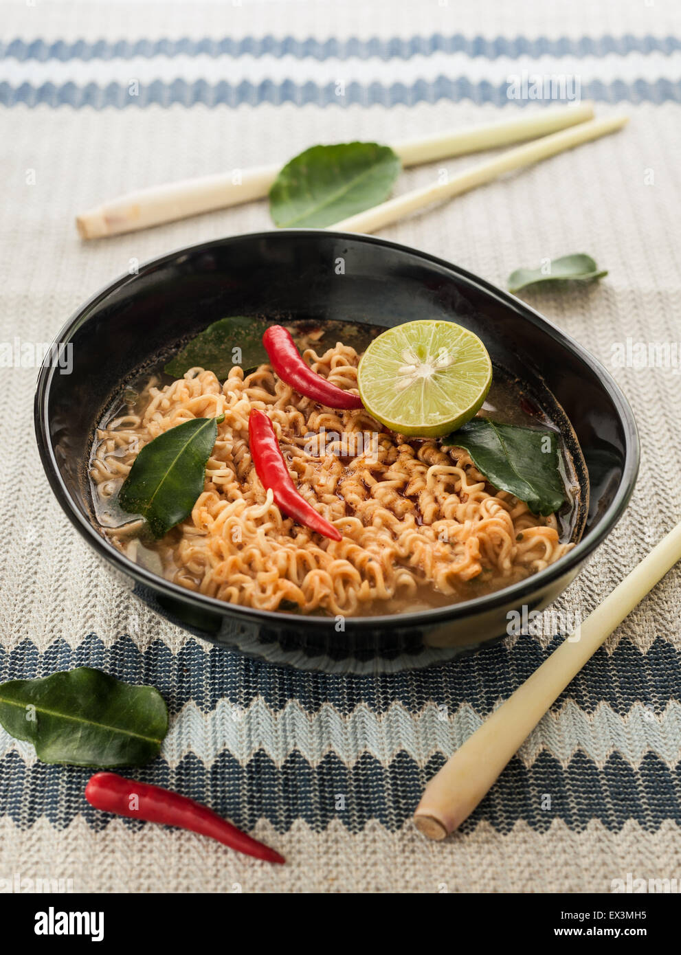 Hot spicy noodle with herb for healhty - Stock Image