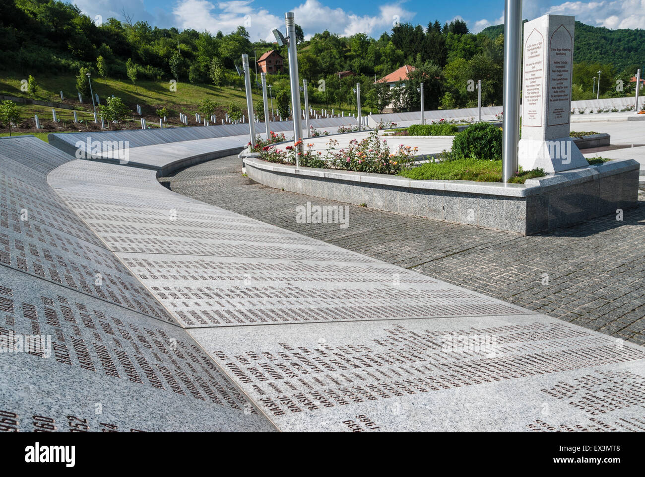 Part of the Srebrenica Genocide Memorial on June 25, 2009 in Potocari, Bosnia and Herzegovina. Stock Photo