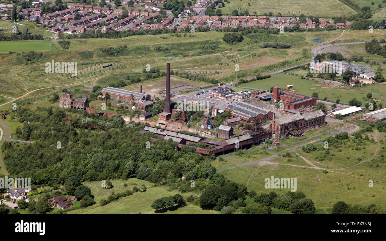aerial view of a disused derelict factory in a semi rural location in the North of England, UK - Stock Image