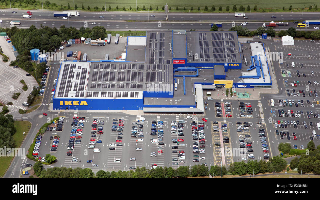 aerial view of the Warrington IKEA furniture and retail store, UK - Stock Image