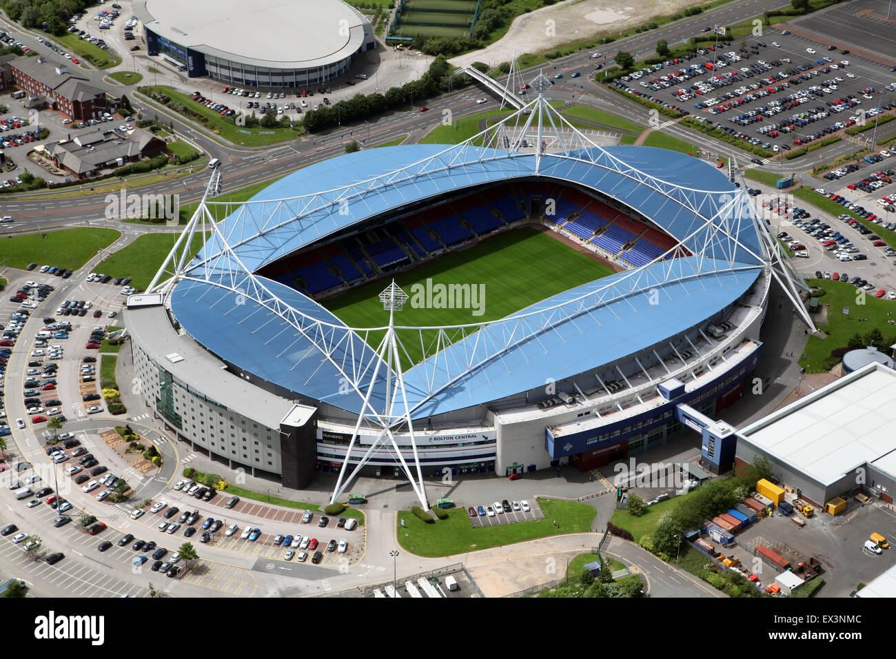 aerial view of Bolton Wanderers Macron Stadium football ground, UK - Stock Image
