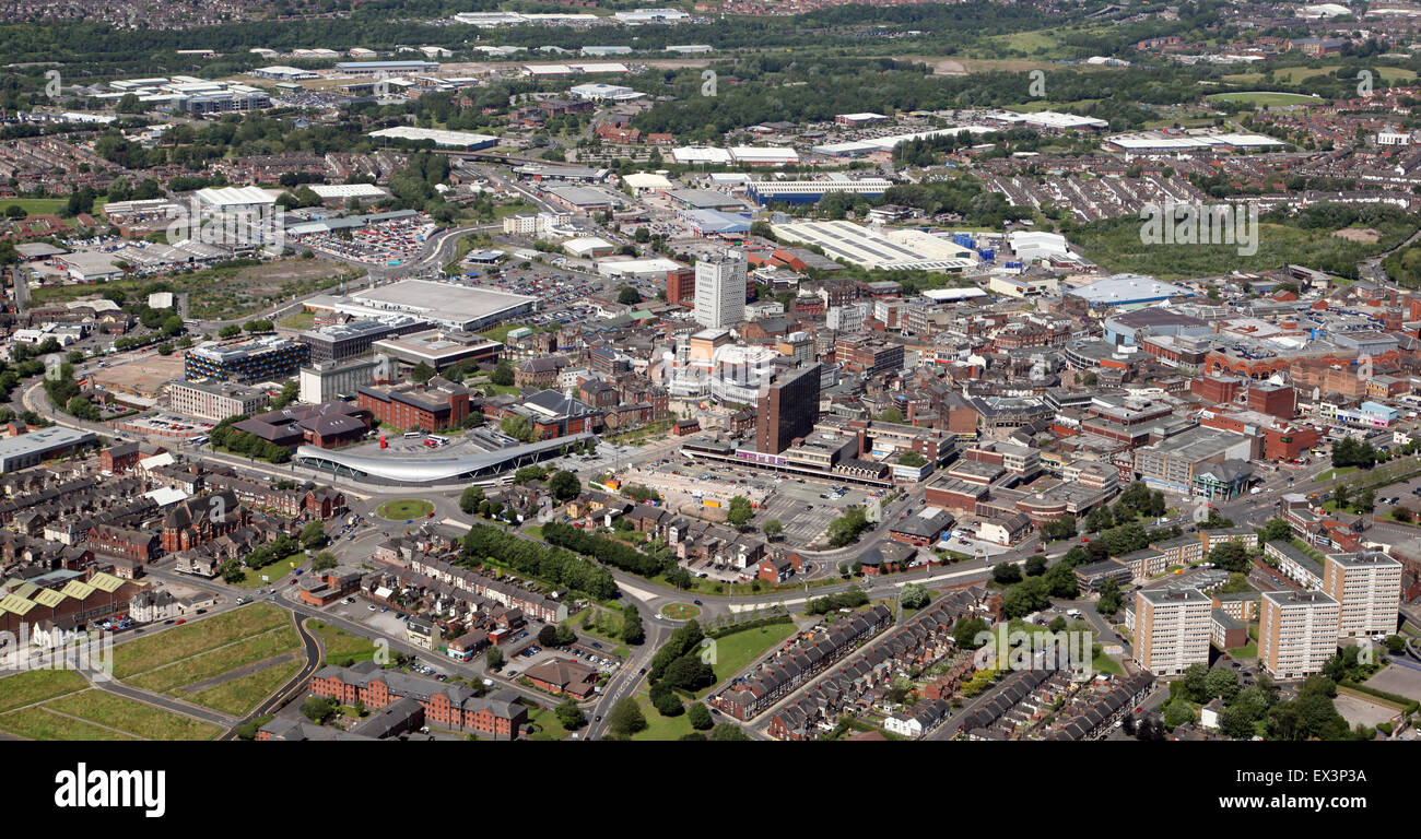 aerial skyline view of the Potteries town of Stoke on Trent, Staffordshire, UK Stock Photo