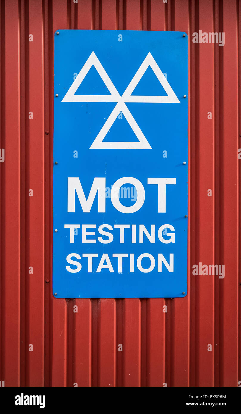 A Motor Ordinance Test (MOT) Station Sign At A Garage In The UK - Stock Image