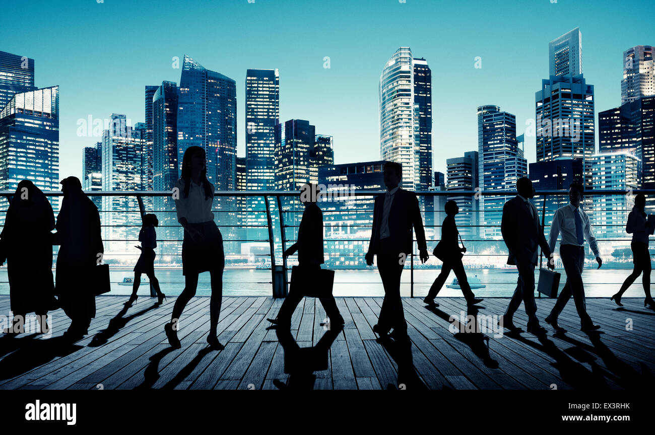 Business People Global Commuter Walking City Concept - Stock Image