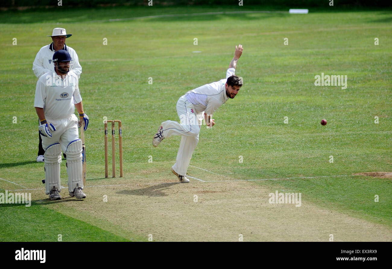 Dorchester, England. 4th July 2015. Action from the Dorset Cricket League match between Martinstown CC v Broadstone - Stock Image