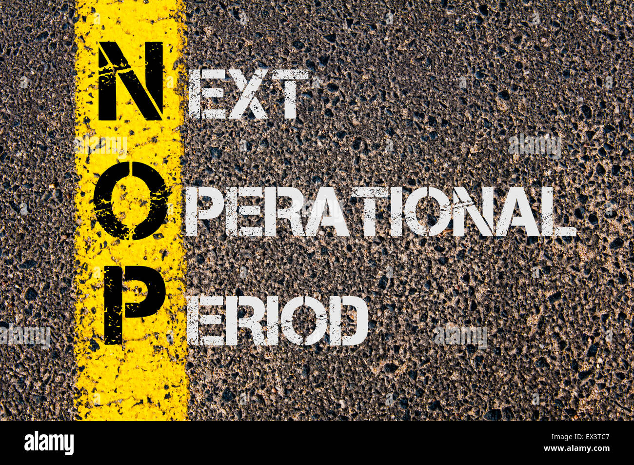 Concept image of Business Acronym NOP as Next Operational Period written over road marking yellow painted line. - Stock Image
