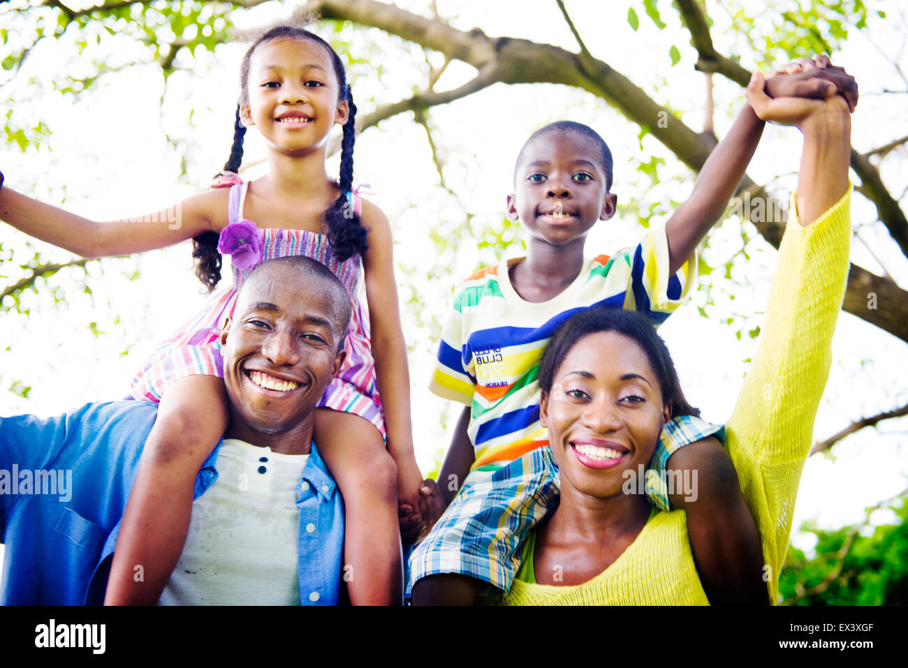 African Family Happiness Holiday Vacation Activity Concept - Stock Image