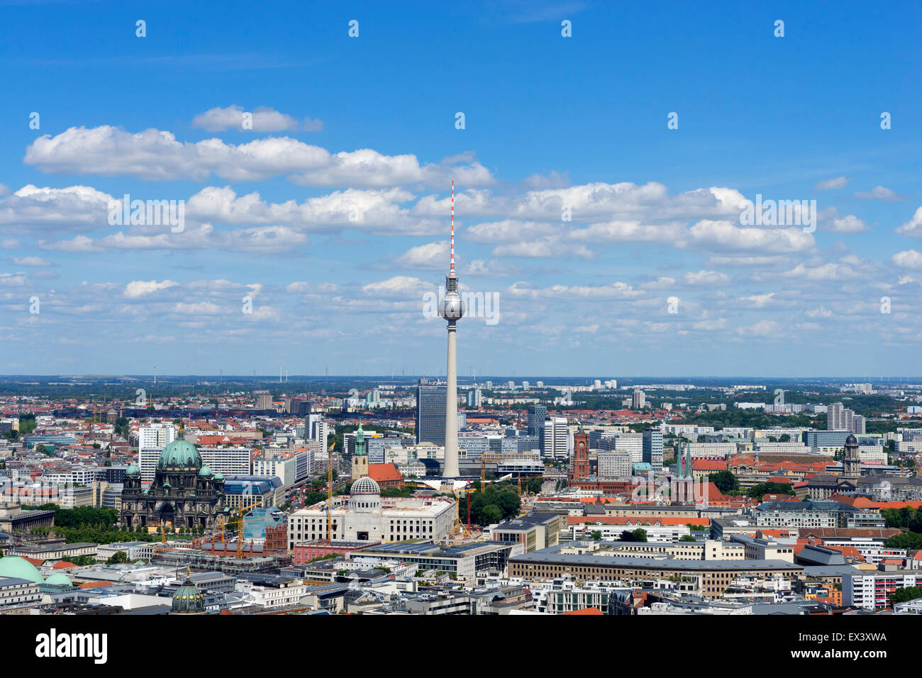 Daytime skyline view of Berlin with TV Tower or Fernsehturm in Germany - Stock Image