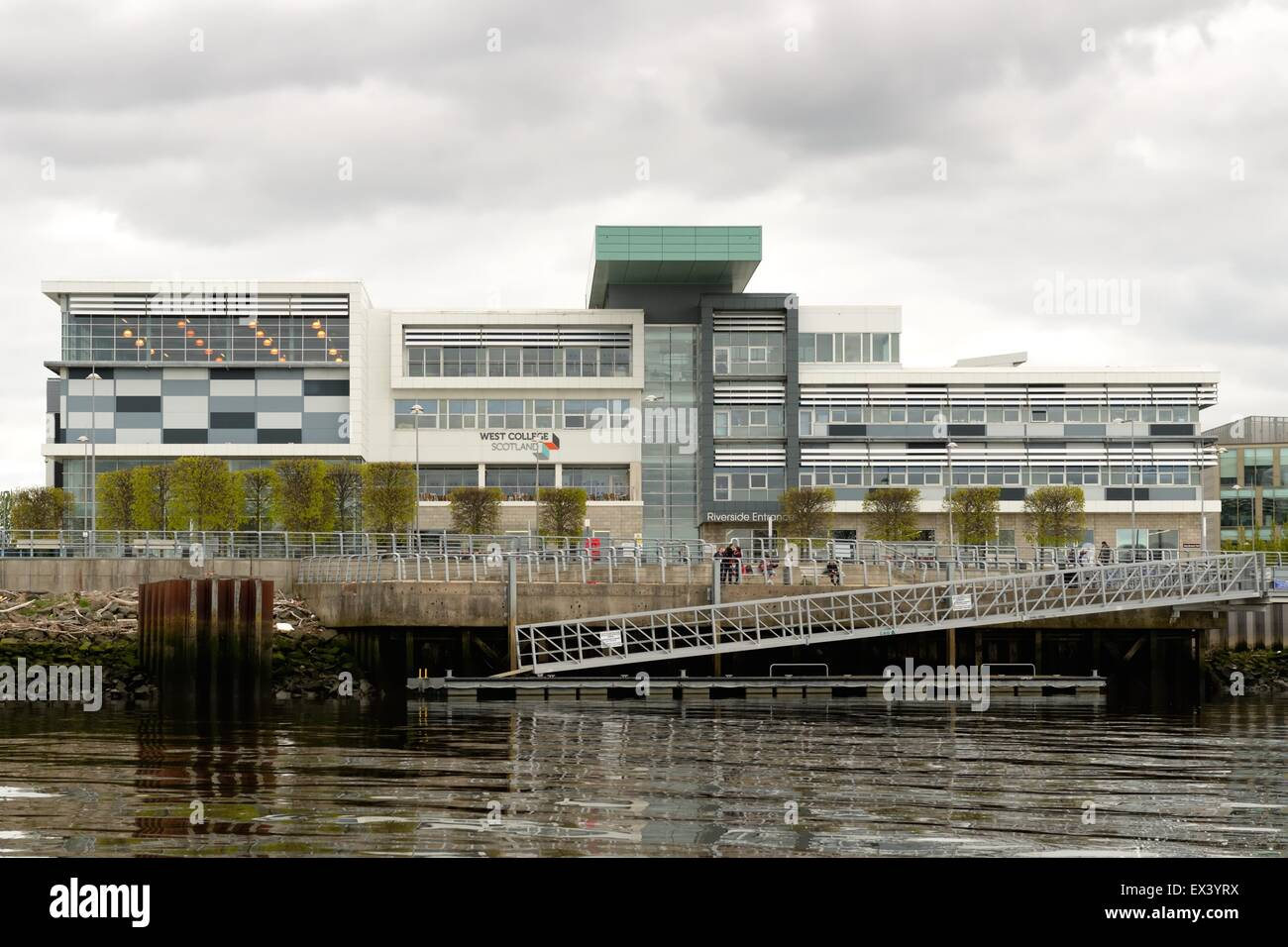 West College Scotland in Clydebank, Glasgow, UK with access to the river Clyde - Stock Image