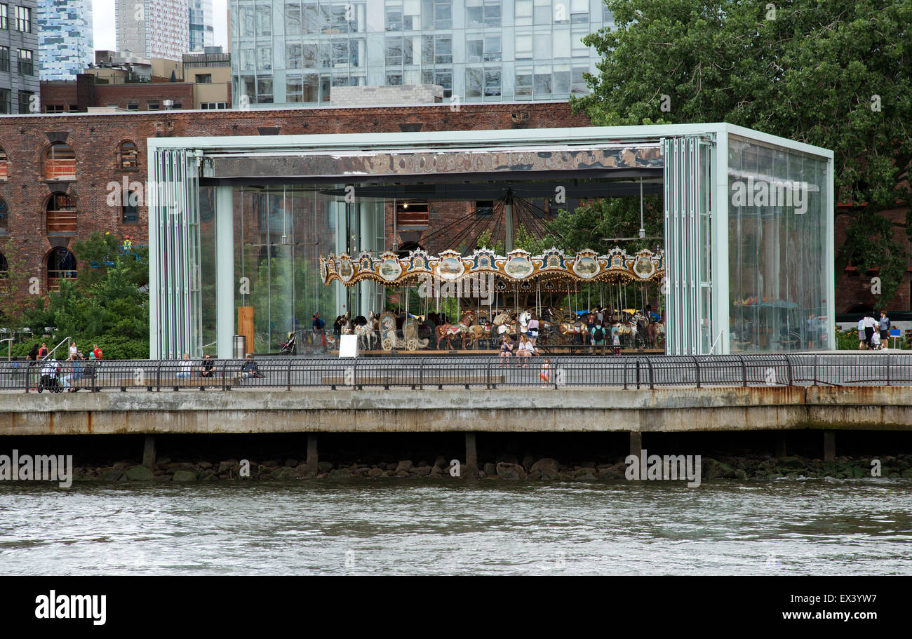 Jane's Carousel on the East River Brooklyn New York USA - Stock Image